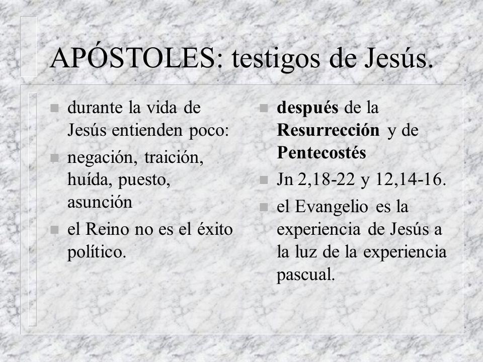 APÓSTOLES: testigos de Jesús.