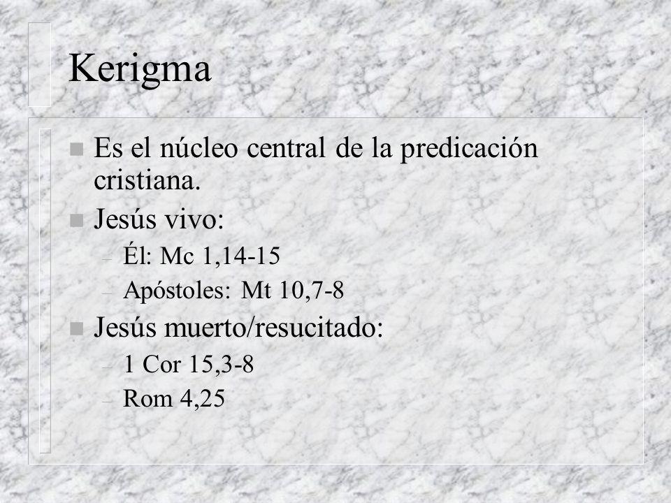 Kerigma Es el núcleo central de la predicación cristiana. Jesús vivo:
