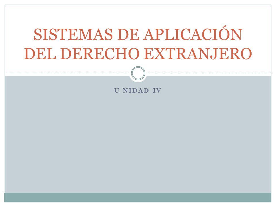 SISTEMAS DE APLICACIÓN DEL DERECHO EXTRANJERO