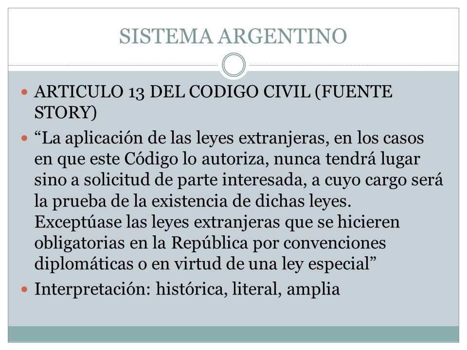 SISTEMA ARGENTINO ARTICULO 13 DEL CODIGO CIVIL (FUENTE STORY)