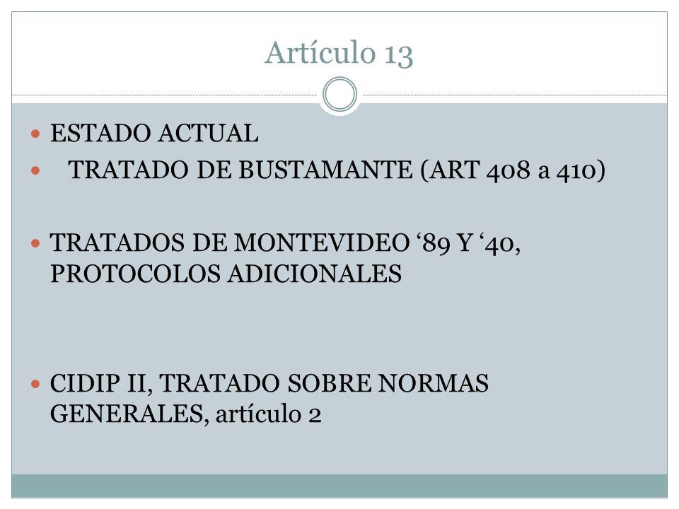 Artículo 13 ESTADO ACTUAL TRATADO DE BUSTAMANTE (ART 408 a 410)