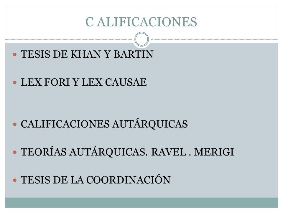 C ALIFICACIONES TESIS DE KHAN Y BARTIN LEX FORI Y LEX CAUSAE