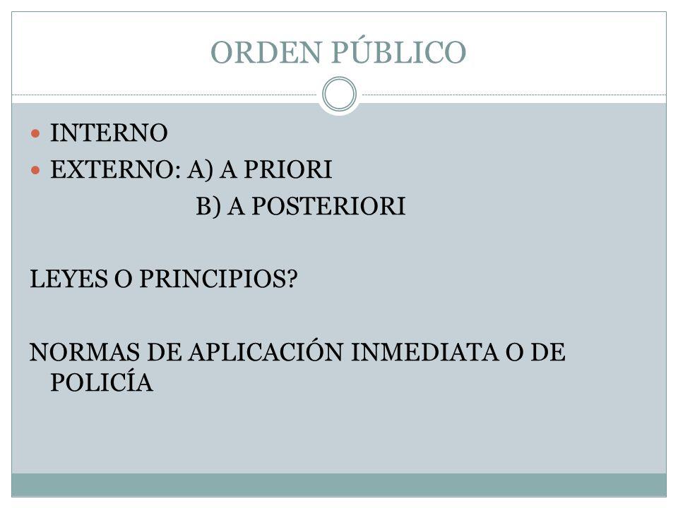 ORDEN PÚBLICO INTERNO EXTERNO: A) A PRIORI B) A POSTERIORI