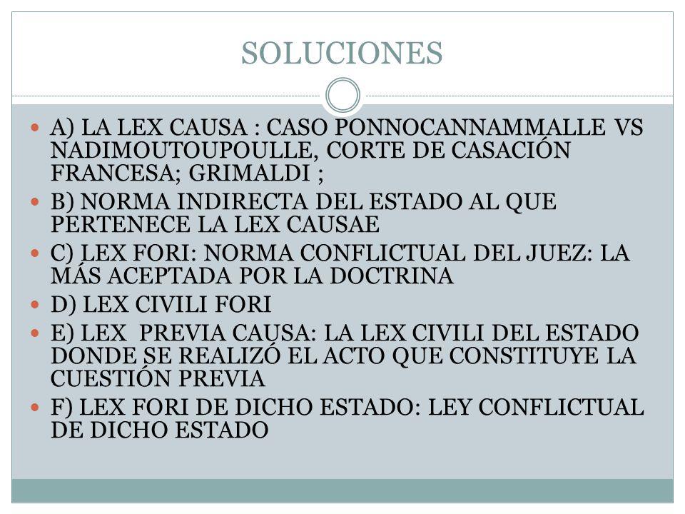 SOLUCIONES A) LA LEX CAUSA : CASO PONNOCANNAMMALLE VS NADIMOUTOUPOULLE, CORTE DE CASACIÓN FRANCESA; GRIMALDI ;