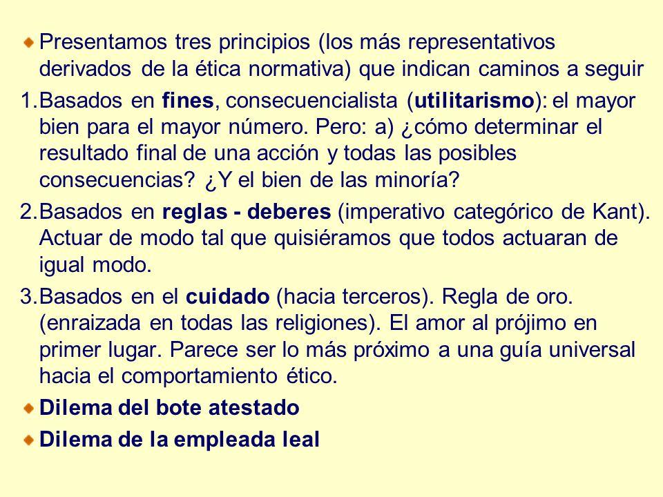 Presentamos tres principios (los más representativos derivados de la ética normativa) que indican caminos a seguir