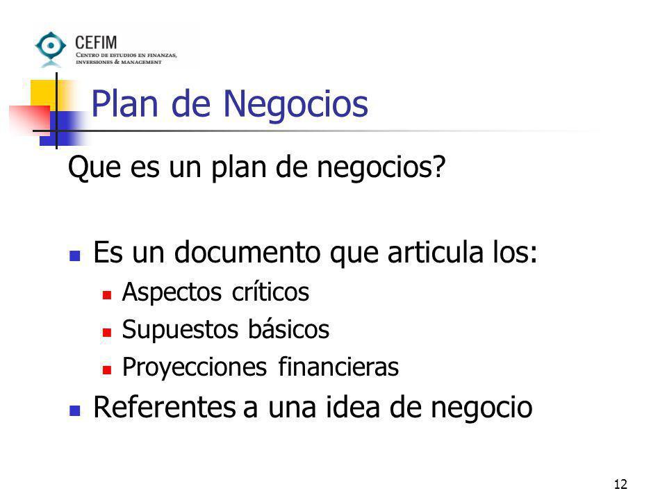 Plan de Negocios Que es un plan de negocios