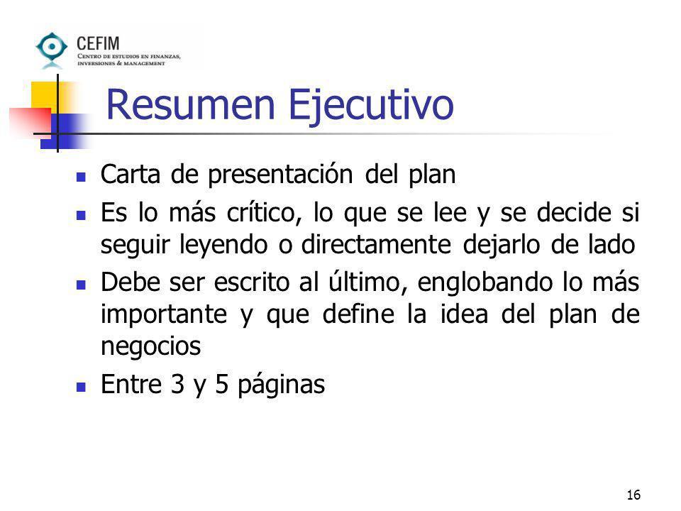 Resumen Ejecutivo Carta de presentación del plan