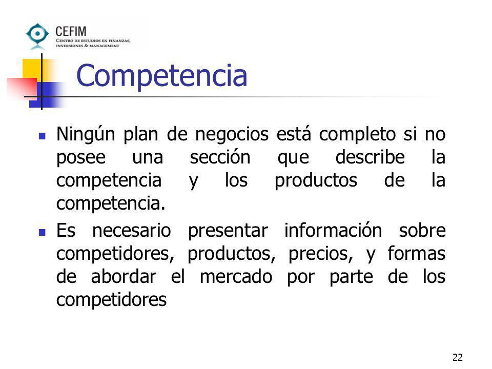 Competencia Ningún plan de negocios está completo si no posee una sección que describe la competencia y los productos de la competencia.