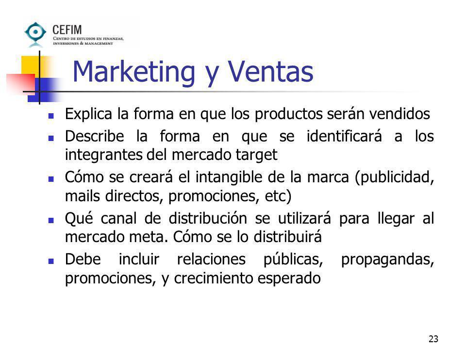 Marketing y Ventas Explica la forma en que los productos serán vendidos.
