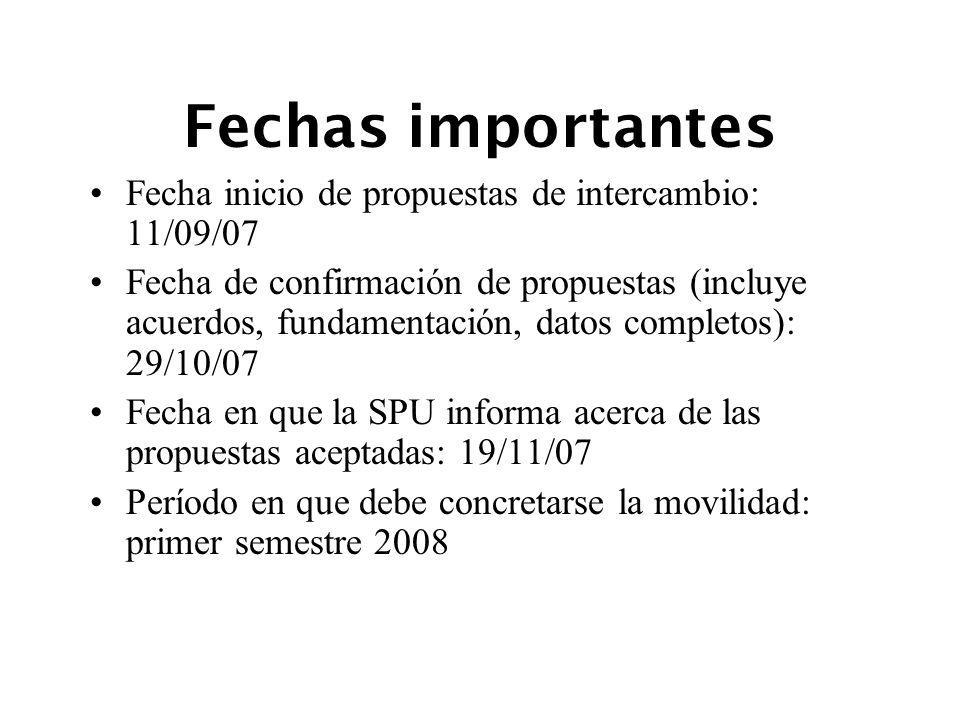 Fechas importantes Fecha inicio de propuestas de intercambio: 11/09/07