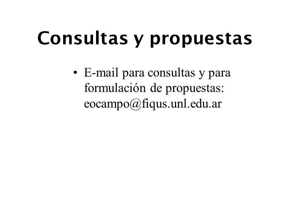 Consultas y propuestas