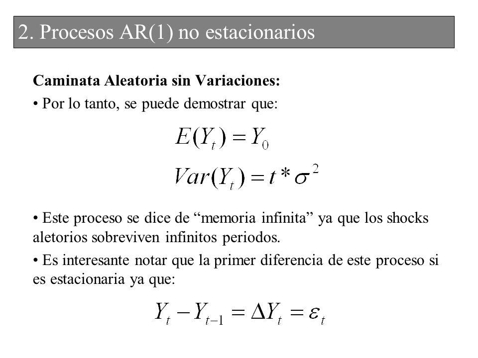 2. Procesos AR(1) no estacionarios 2. Procesos AR(1) no estacionarios