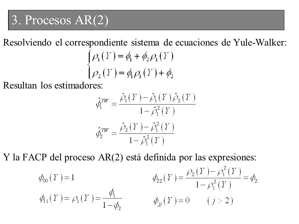 3. Procesos AR(2) 2. Procesos AR(2)
