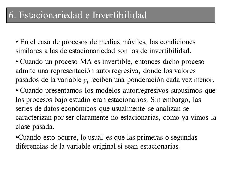 6. Estacionariedad e Invertibilidad