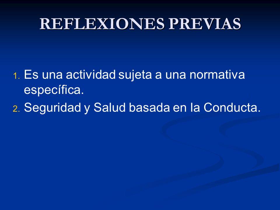 REFLEXIONES PREVIAS Es una actividad sujeta a una normativa específica.