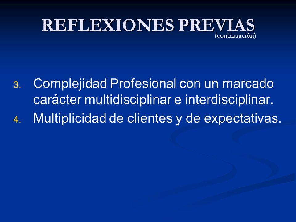 REFLEXIONES PREVIAS(continuación) Complejidad Profesional con un marcado carácter multidisciplinar e interdisciplinar.