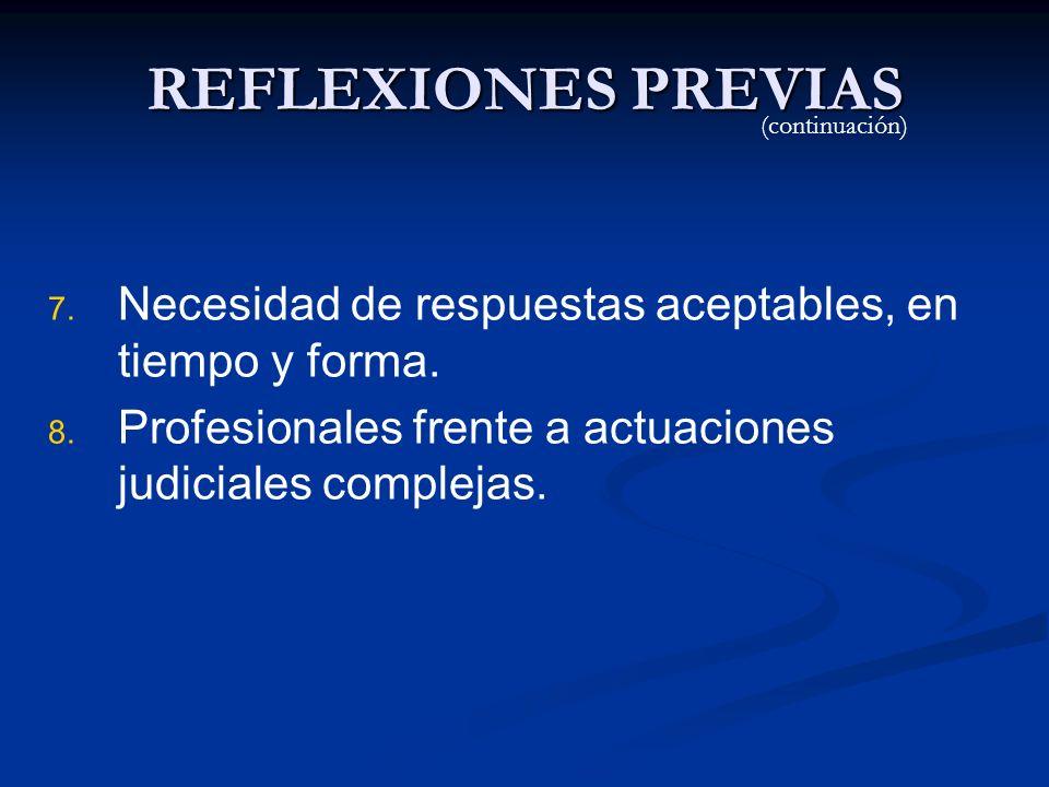 REFLEXIONES PREVIAS (continuación) Necesidad de respuestas aceptables, en tiempo y forma.