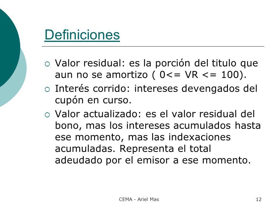 Definiciones Valor residual: es la porción del titulo que aun no se amortizo ( 0<= VR <= 100).