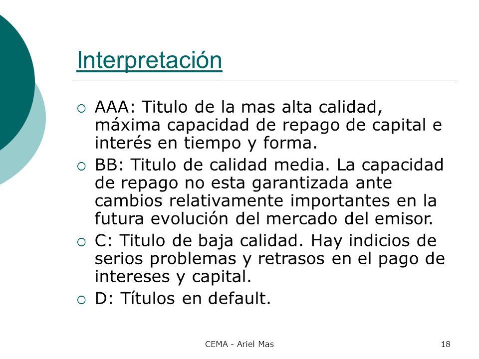 Interpretación AAA: Titulo de la mas alta calidad, máxima capacidad de repago de capital e interés en tiempo y forma.