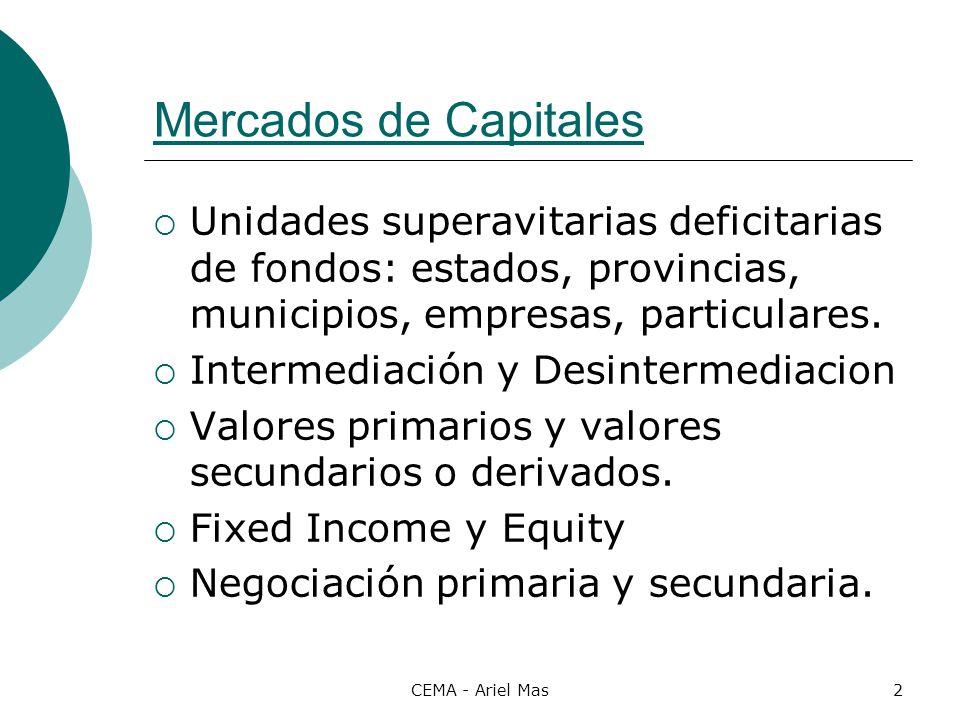 Mercados de Capitales Unidades superavitarias deficitarias de fondos: estados, provincias, municipios, empresas, particulares.