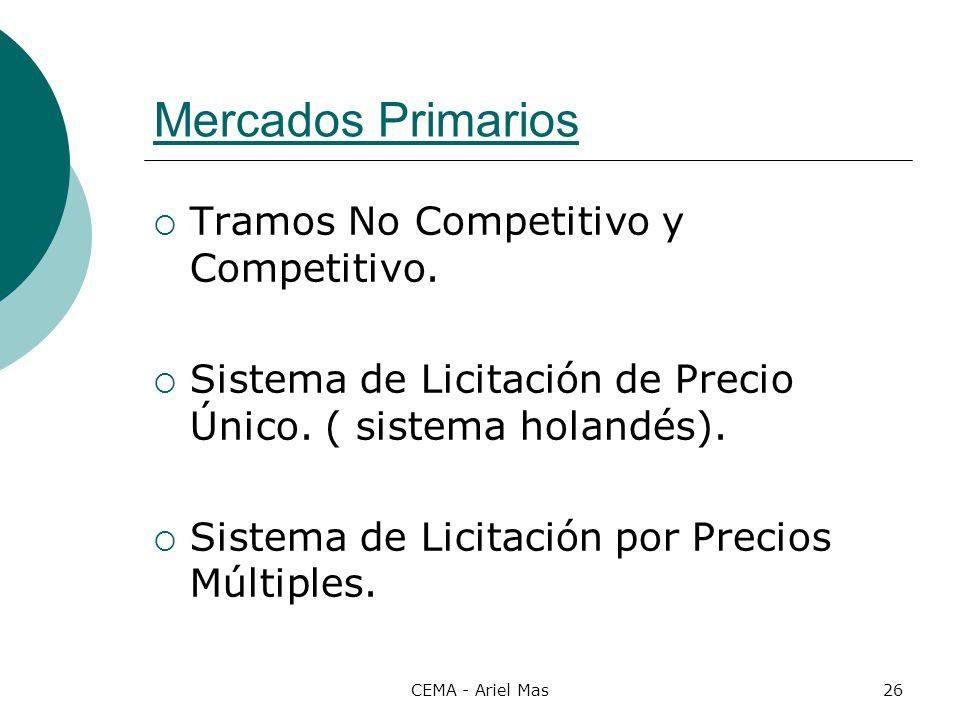 Mercados Primarios Tramos No Competitivo y Competitivo.