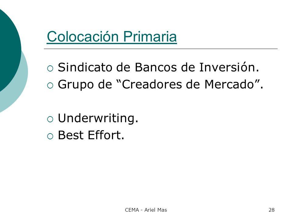 Colocación Primaria Sindicato de Bancos de Inversión.