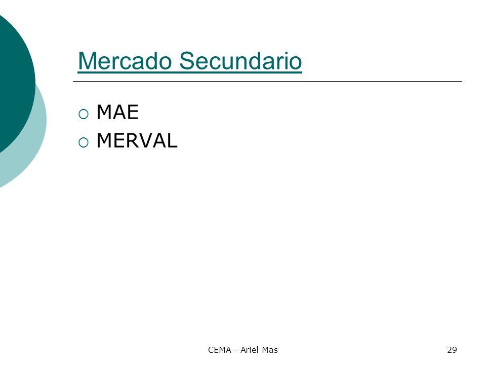 Mercado Secundario MAE MERVAL CEMA - Ariel Mas