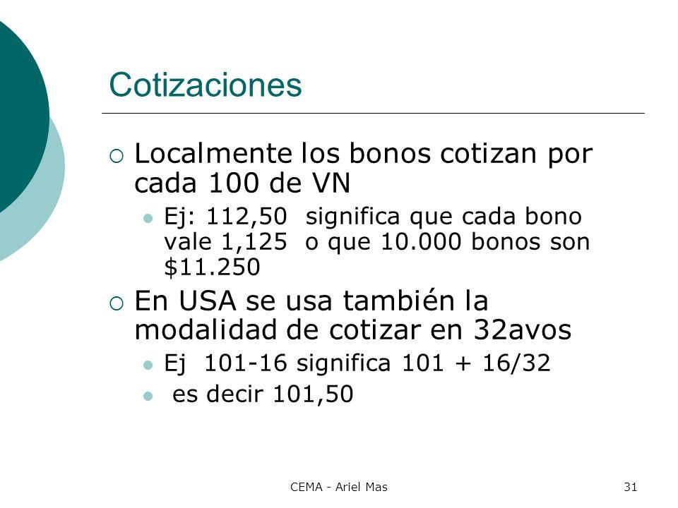 Cotizaciones Localmente los bonos cotizan por cada 100 de VN