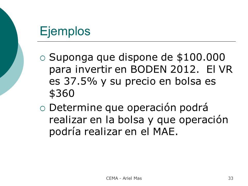 Ejemplos Suponga que dispone de $100.000 para invertir en BODEN 2012. El VR es 37.5% y su precio en bolsa es $360.