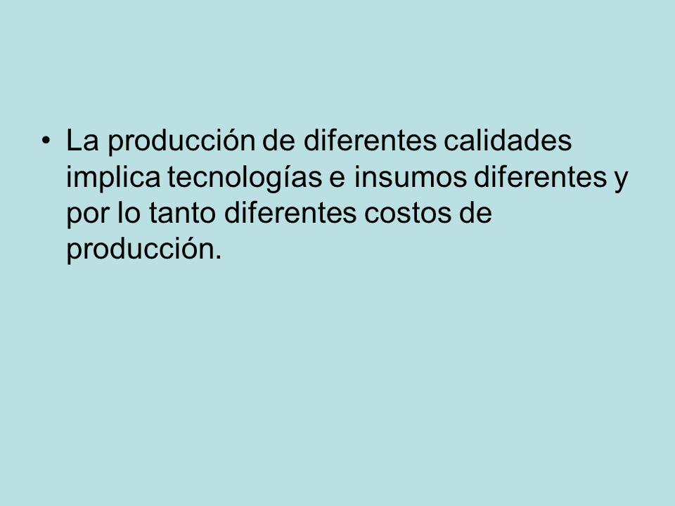 La producción de diferentes calidades implica tecnologías e insumos diferentes y por lo tanto diferentes costos de producción.