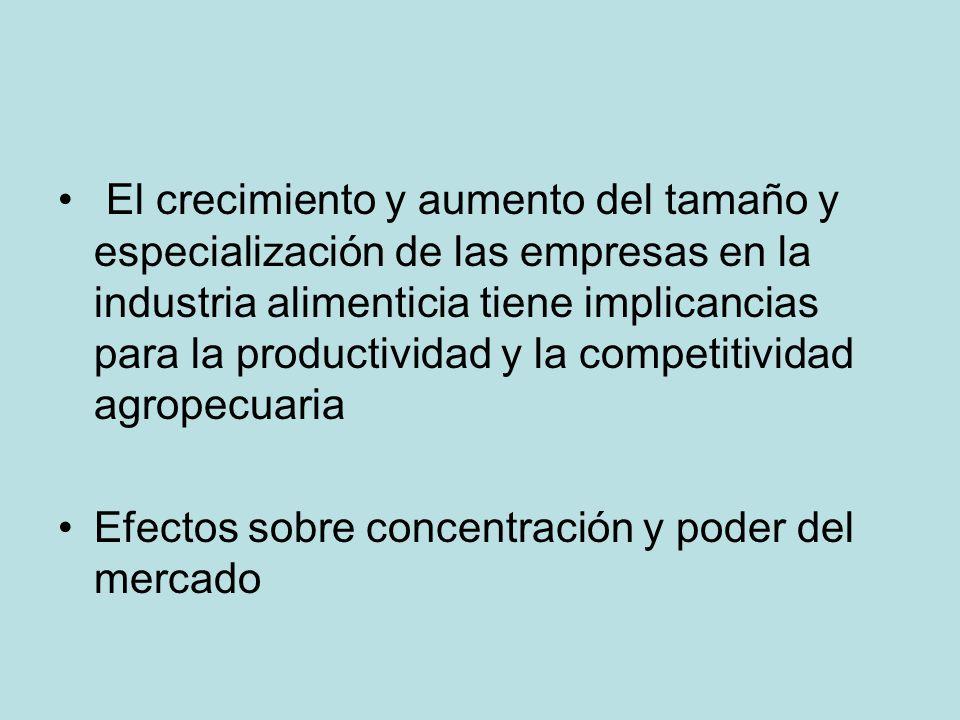 El crecimiento y aumento del tamaño y especialización de las empresas en la industria alimenticia tiene implicancias para la productividad y la competitividad agropecuaria