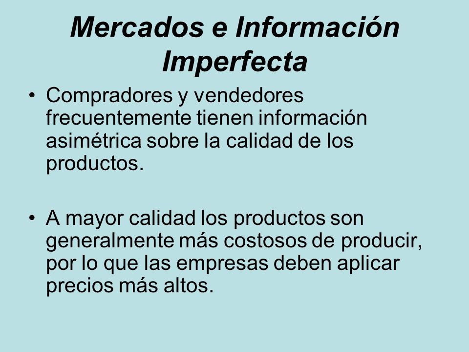 Mercados e Información Imperfecta