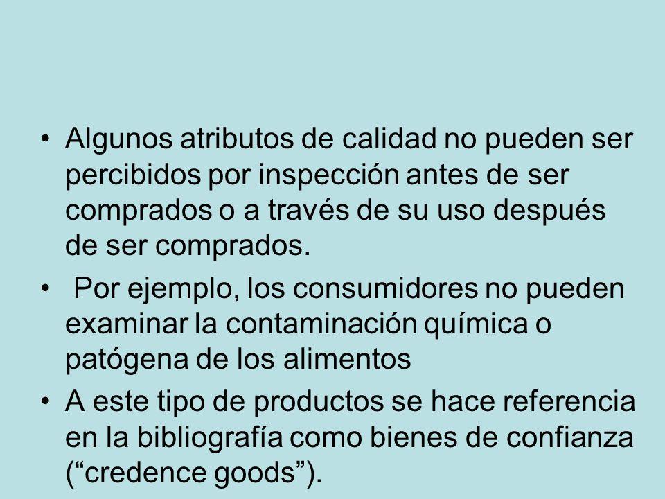 Algunos atributos de calidad no pueden ser percibidos por inspección antes de ser comprados o a través de su uso después de ser comprados.