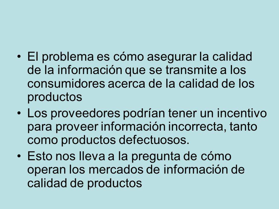 El problema es cómo asegurar la calidad de la información que se transmite a los consumidores acerca de la calidad de los productos