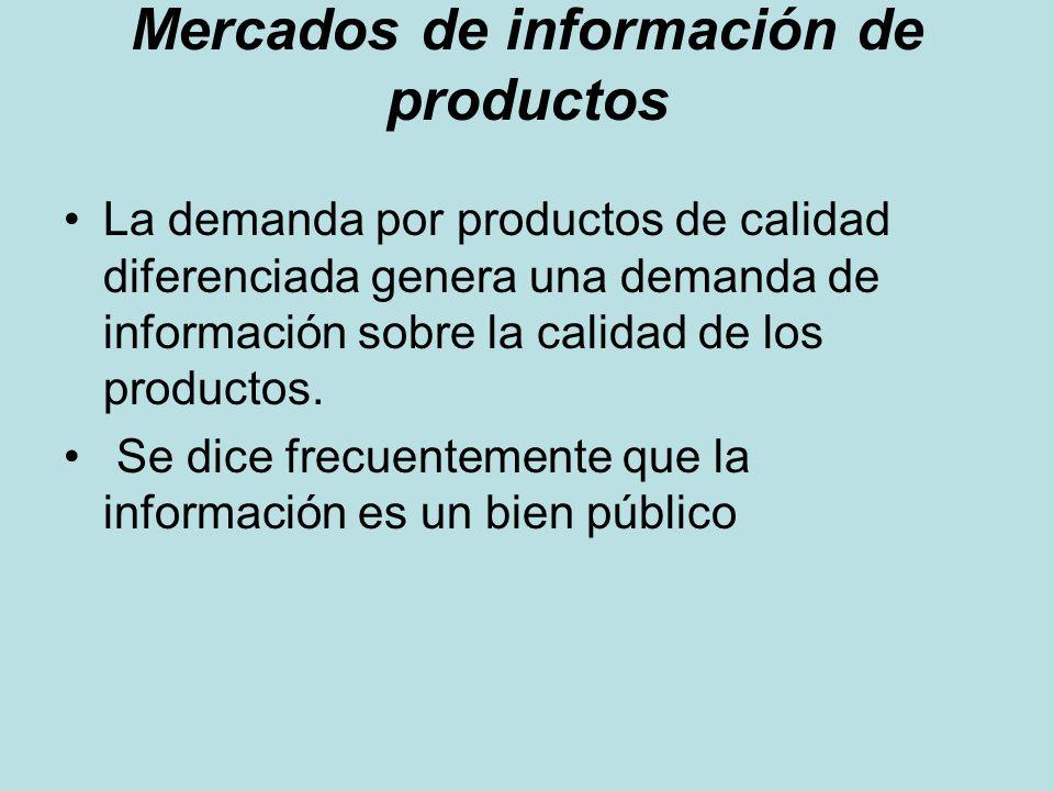 Mercados de información de productos