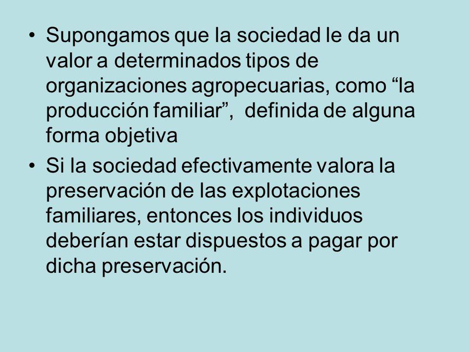Supongamos que la sociedad le da un valor a determinados tipos de organizaciones agropecuarias, como la producción familiar , definida de alguna forma objetiva