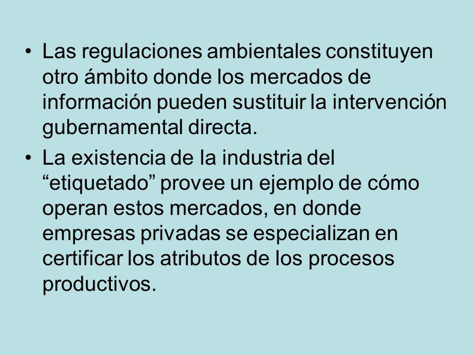 Las regulaciones ambientales constituyen otro ámbito donde los mercados de información pueden sustituir la intervención gubernamental directa.
