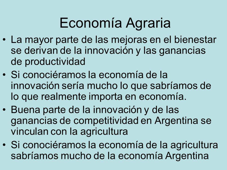 Economía Agraria La mayor parte de las mejoras en el bienestar se derivan de la innovación y las ganancias de productividad.