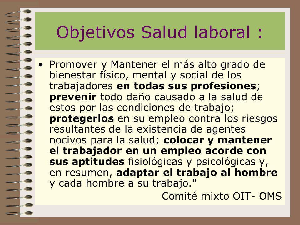 Objetivos Salud laboral :