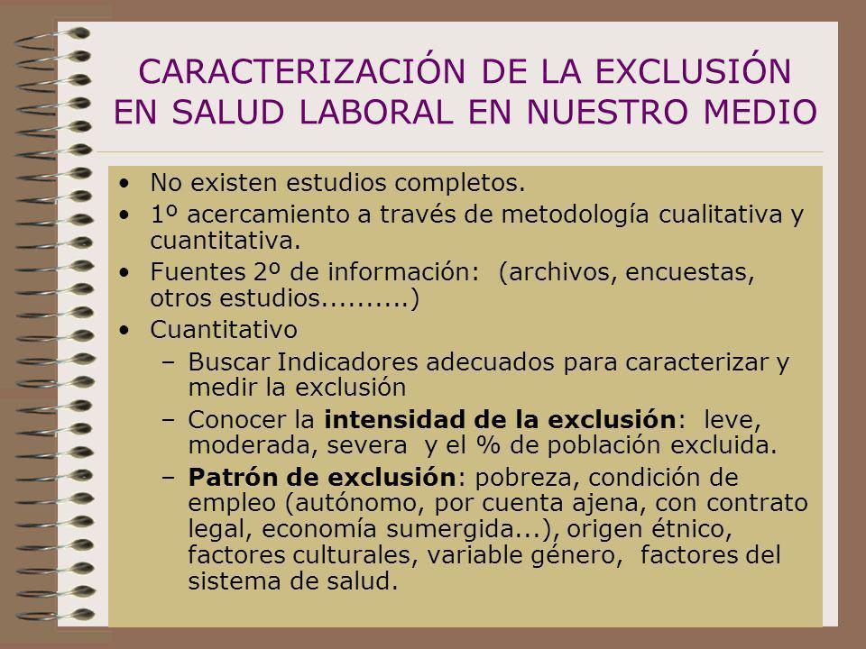 CARACTERIZACIÓN DE LA EXCLUSIÓN EN SALUD LABORAL EN NUESTRO MEDIO
