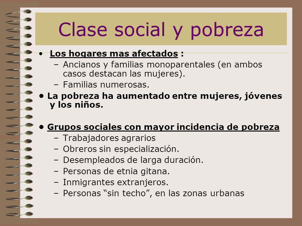 Clase social y pobreza Los hogares mas afectados :