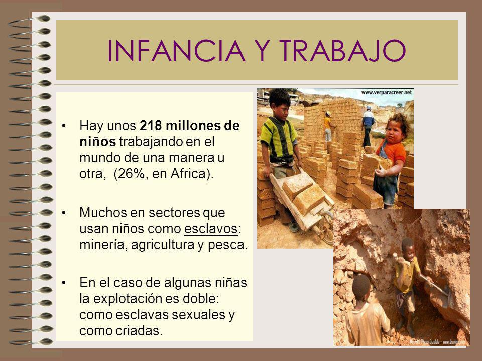 INFANCIA Y TRABAJO Hay unos 218 millones de niños trabajando en el mundo de una manera u otra, (26%, en Africa).