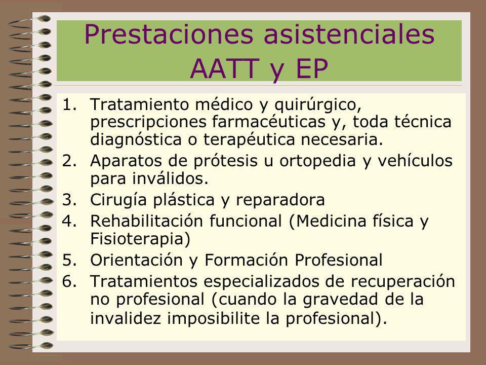 Prestaciones asistenciales AATT y EP
