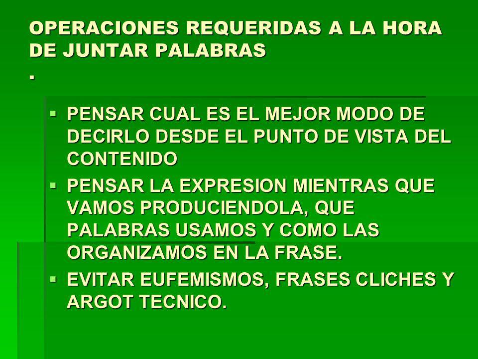 OPERACIONES REQUERIDAS A LA HORA DE JUNTAR PALABRAS .