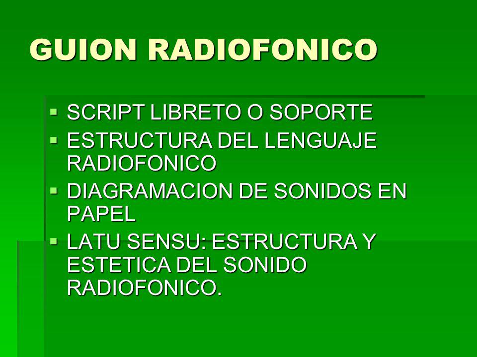 GUION RADIOFONICO SCRIPT LIBRETO O SOPORTE