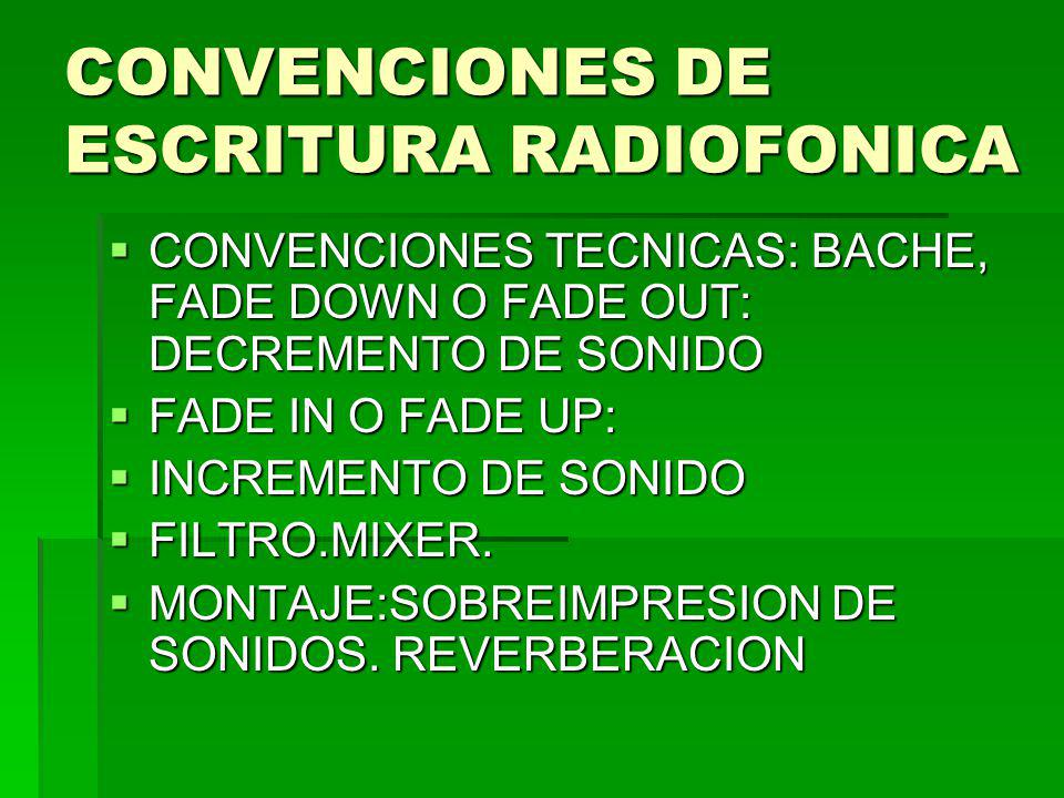 CONVENCIONES DE ESCRITURA RADIOFONICA
