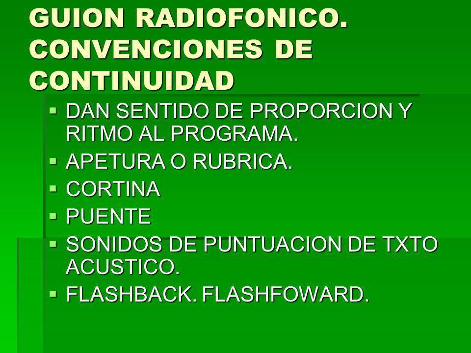 GUION RADIOFONICO. CONVENCIONES DE CONTINUIDAD