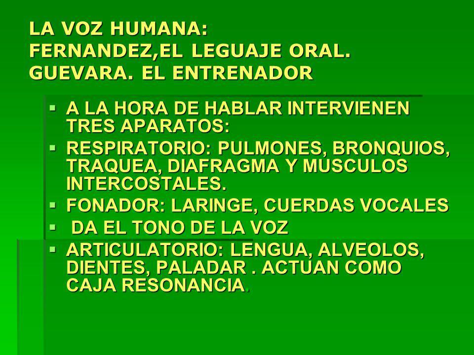 LA VOZ HUMANA: FERNANDEZ,EL LEGUAJE ORAL. GUEVARA. EL ENTRENADOR