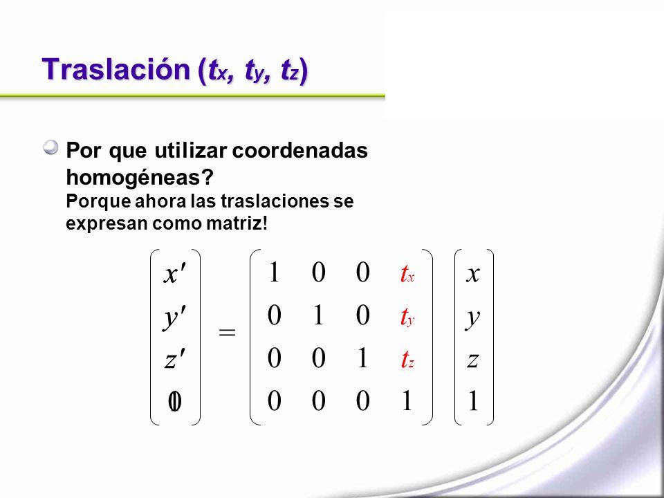 Traslación (tx, ty, tz) x y z 1 x y z 1 1 1 tx ty tz 1 x y z 1 =