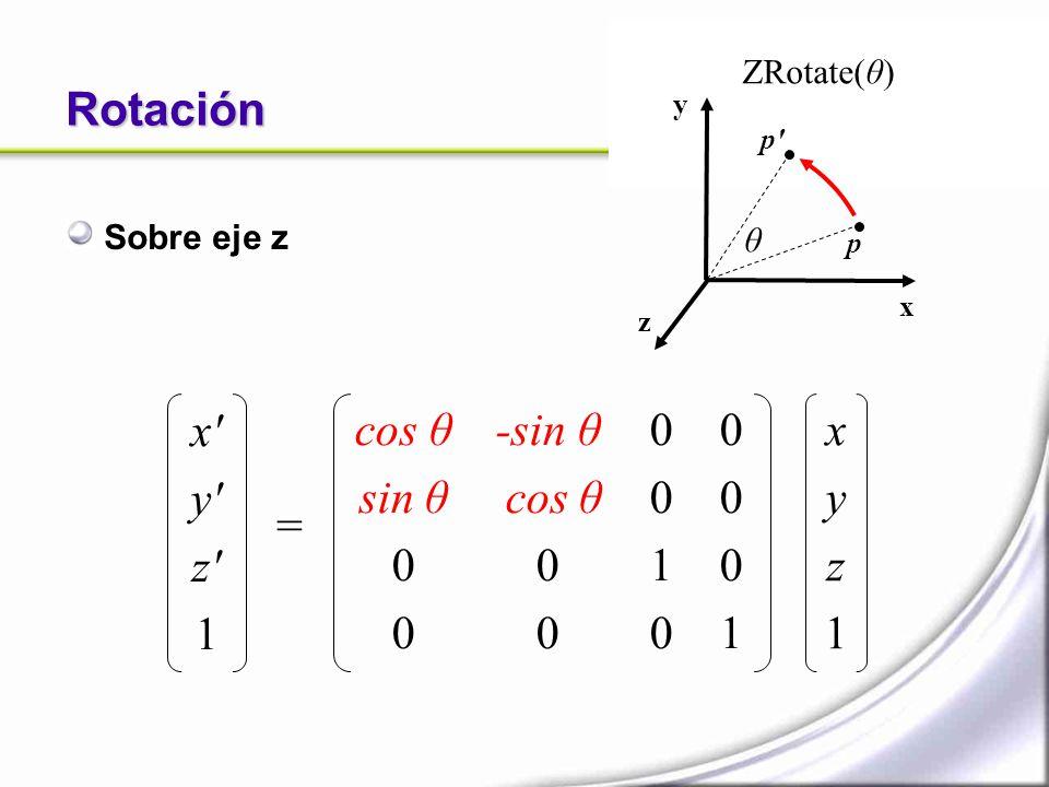 Rotación x y z 1 cos θ sin θ -sin θ cos θ 1 1 x y z 1 = ZRotate(θ)